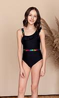 Детский цельный совместный купальник для девочки на одно плечо Черный Размер Только 10-12 лет, фото 1
