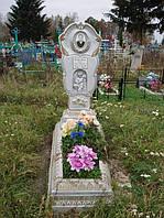 Надгробный памятник из бетона одинарный с цветником образец №4