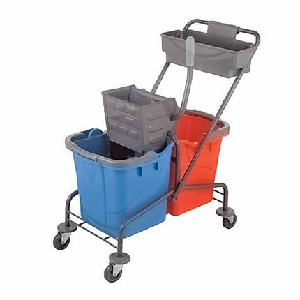 Візок двухведерная для прибирання приміщень на колесах і пластиковому каркасі BP755, фото 2