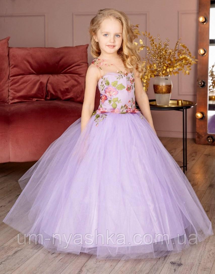 """Детское нарядное платье """"Цветы"""" с компьютерной вышивкой"""