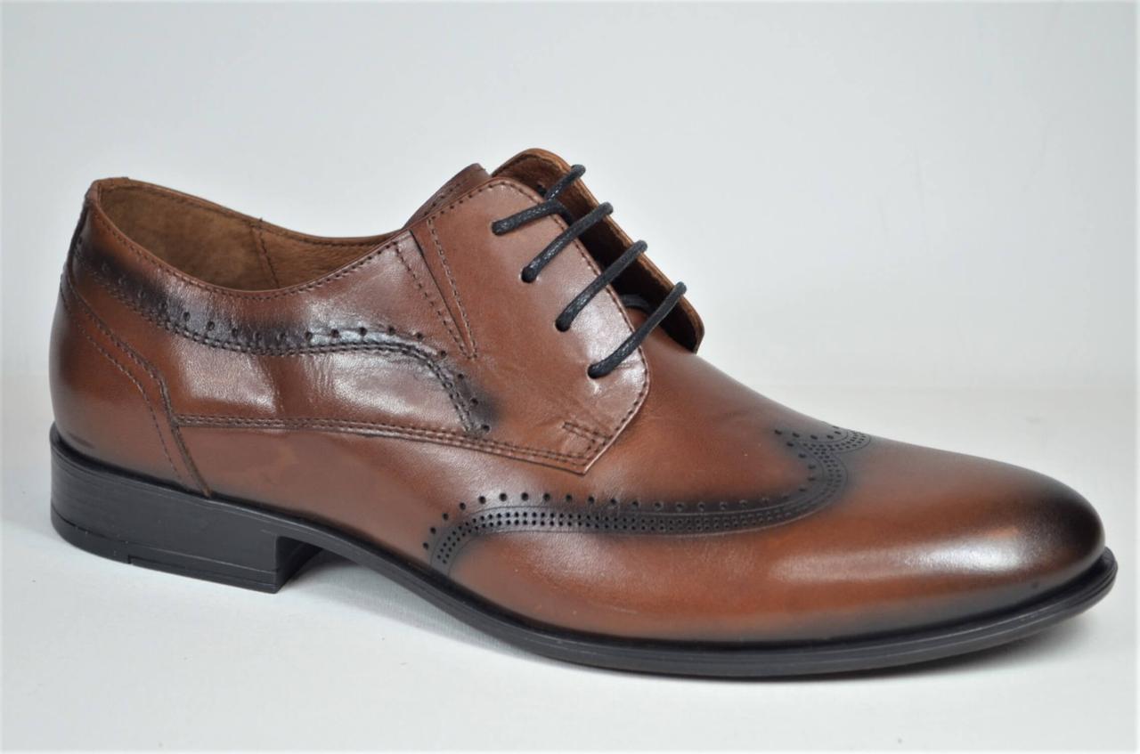 Чоловічі шкіряні туфлі полуброги руді L-Style 12691