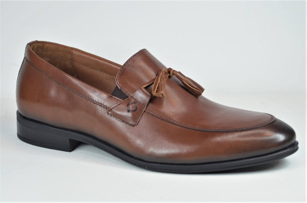 Мужские кожаные туфли лоферы рыжие L-Style 12231