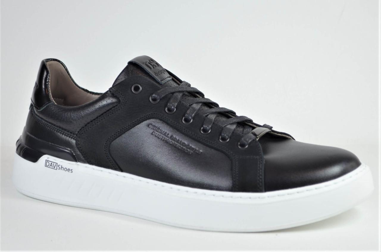 Чоловічі спортивні туфлі шкіряні кеди чорні з білим DAV 2001/1