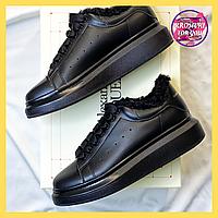 Женские зимние ботинки Alexander McQueen Black Fur (черные) (мех)