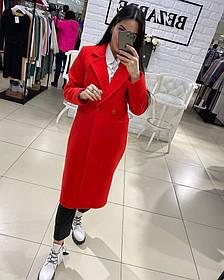 Пальто кашемировое женское на запах черный, красный, джинс