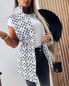 Стильная модная жилетка Белый, Черный, размеры 42-44; 46-48; 50-52, жилетка женская без капюшона