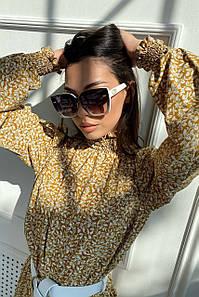 Жіночі сонцезахисні квадратні окуляри в білій оправі (1714.4569 svt)