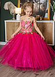 """Детское нарядное малиновое платье на выпускной """"Цветы"""" с компьютерной вышивкой, фото 2"""