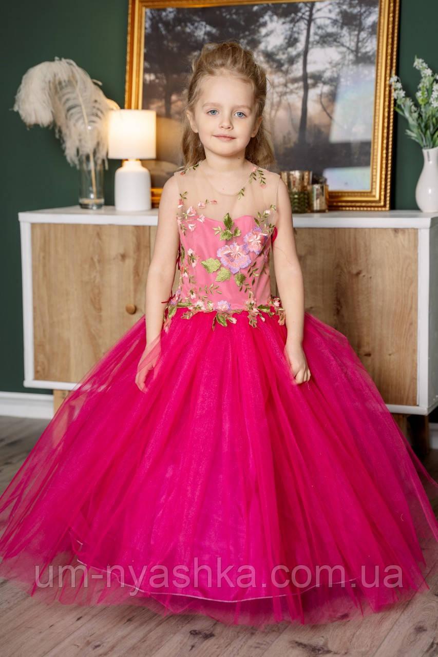 """Детское нарядное малиновое платье на выпускной """"Цветы"""" с компьютерной вышивкой"""