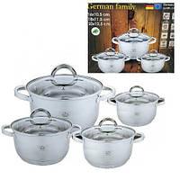 Набор кастрюль из нержавеющей стали German Family GF-2029 Набор кухонной посуды Кастрюли с крышками