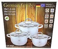 Набор кастрюль из нержавеющей стали German Family GF-2027 Набор кухонной посуды Кастрюли с крышками