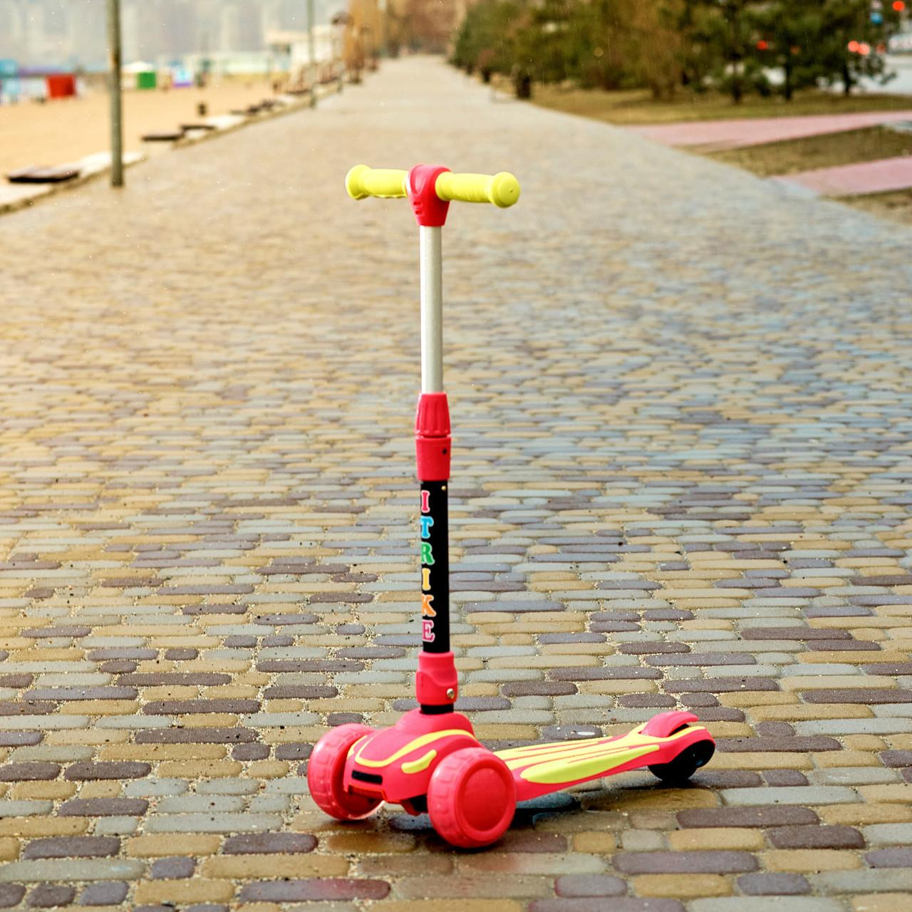 Самокат детский складной трехколесный SPORT KIDS 2586 со светящимися колесами Красно-желтый
