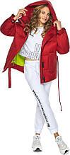 Короткая рубиновая куртка женская модель 21045