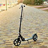 Двоколісний міський спортивний самокат з підніжкою SPORT KIDS 2598 Чорний з ВИДЕООБЗОРОМ!, фото 2