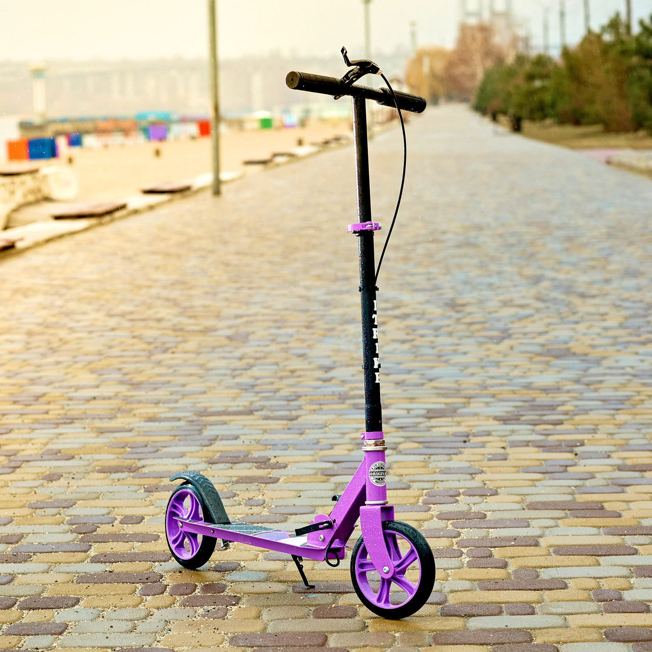 Двоколісний міський спортивний самокат з підніжкою з тормазом SPORT KIDS 2599 Фіолетовий