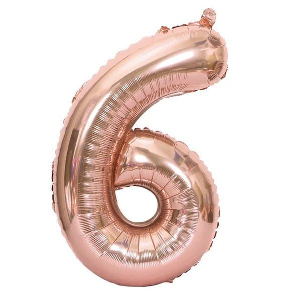 Фольгированная цифра 6, розовое золото, 1м