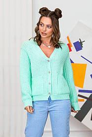 Вязаная красивая женская кофта оверсайз мятного цвета, размер 42-48