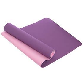 Коврик для фитнеса и йоги TPE+TC 6мм двухслойный SP-Planeta FI-3046