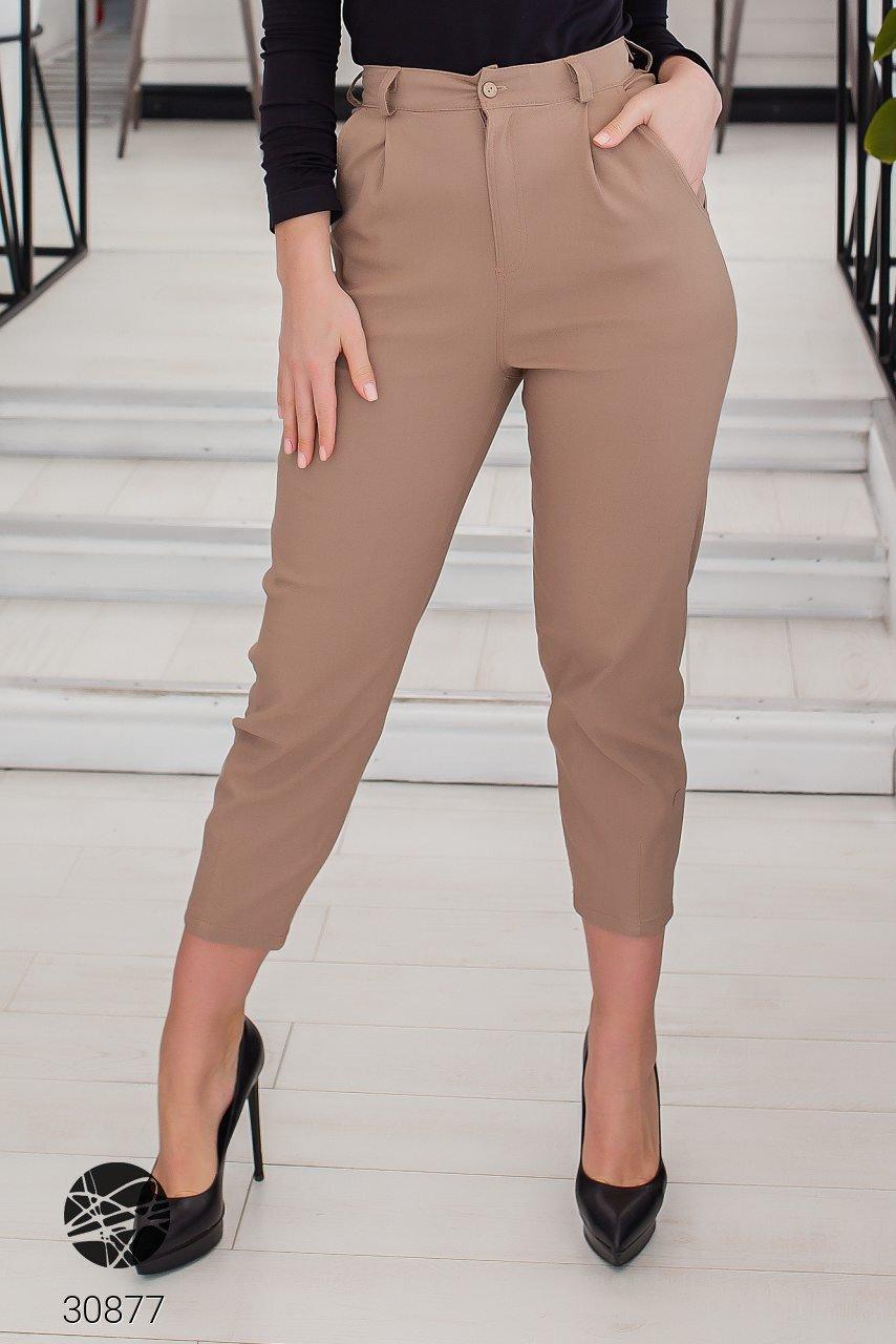 Жіночі джинсові штани-галіфе з завищеною талією з 50 по 56 розмір