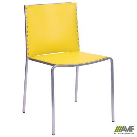 Пластиковий стілець Санта-Фе алюм сидіння жовтого кольору