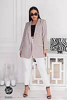 """Свободный блейзер из плотной костюмной ткани с принтом """"гусиная лапка"""" с 48 по 58 размер, фото 7"""