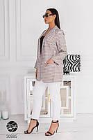 """Свободный блейзер из плотной костюмной ткани с принтом """"гусиная лапка"""" с 48 по 58 размер, фото 8"""