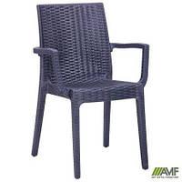 Пластиковый стул с подлокотниками AMF Dafne под ротанг антрацит для кафе садовое на террасу