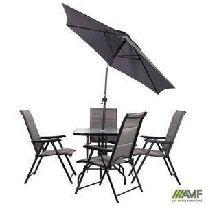Комплект уличной мебели Playa черный металлокаркас сидение темно-серые