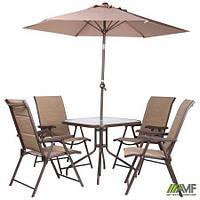 Комплект садовой мебели Playa стлья и столик коричневый