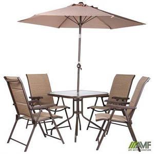 Комплект уличной мебели AMF Playa стулья+столик+зонт коричневые для кафе для сада