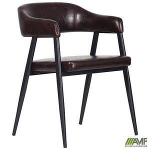 Гостевое кресло AMF Ramones черные ножки мягкое сидение коричневое для посетителей в кафе