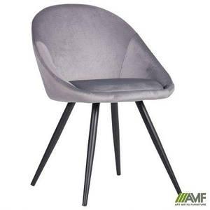 Стул-кресло обеденный AMF Mary ножки black мягкий silver обеденный для кафе ресторана для гостиной