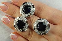 Серебряный набор - кольцо и серьги с большими синими камнями фианитами