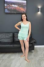 Женская пижама майка / шорты, вискоза, мятная.  D&C fashion