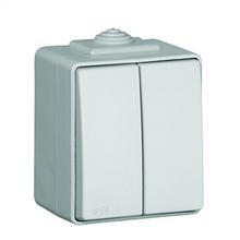Выключатель двухклавишный наружный пылевлагозащищенный IP65 Efapel Waterproof48 серый 48061 CCZ