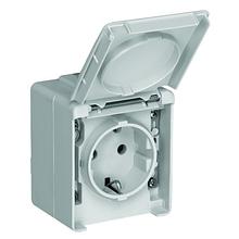 Розетка одинарная наружная с крышкой пылевлагозащищенная IP65 Efapel Waterproof48 серая 48131 CCZ