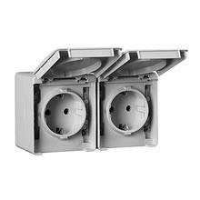 Розетка двойная наружная с крышкой ШУКО пылевлагозащищенная IP65 Efapel Waterproof48 серая 48862 CCZ