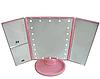 Потрійне дзеркало з віконницями з led-підсвічуванням Рожеве, фото 3