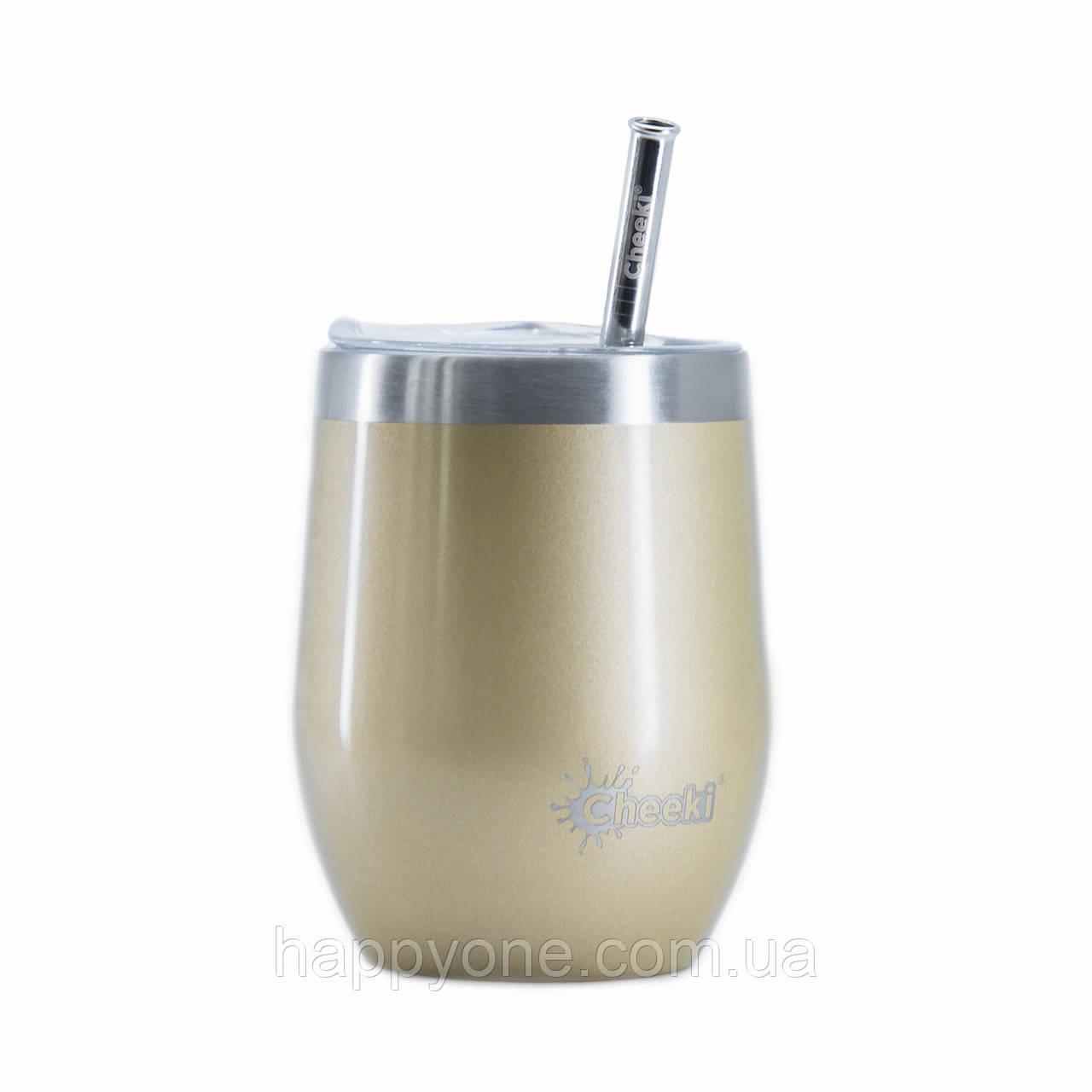 Термостакан для напитков со стальной трубочкой Cheeki Wine Tumbler Soft Gold (320 мл)
