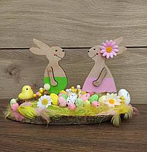 Пасхальна композиція з зайчиками, великодній декор
