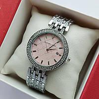Жіночі наручні годинники Michael Kors сріблястого кольору з пудровим циферблатом, два ряди каменів, дата - код 1915, фото 1