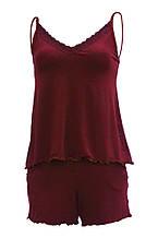 Женская пижама майка / шорты, вискоза, бордовая.  D&C fashion