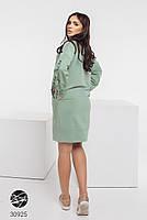 Трикотажное платье с боковыми карманами и отделкой лентой с 42 по 48 размер, фото 2