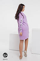 Трикотажное платье с боковыми карманами и отделкой лентой с 42 по 48 размер, фото 3