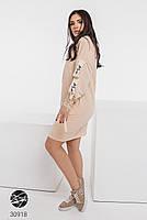 Трикотажное платье с боковыми карманами и отделкой лентой с 42 по 48 размер, фото 7