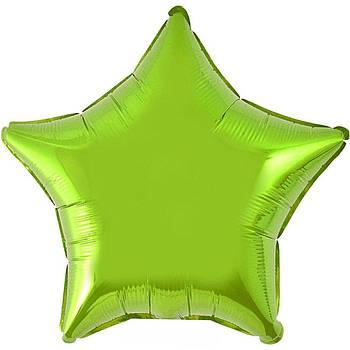 Фольгована Гелева Кулька Однотона Зірка Металік Світло-Зелена Flexmetal 18 (46 см)