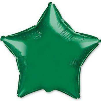 Фольгована Гелева Кулька Однотона Зірка Металік Зелена Flexmetal 18 (46 см)