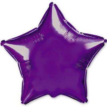Фольгована Гелева Кулька Однотона Зірка Металік Фіолетова Flexmetal 18 (46 см)