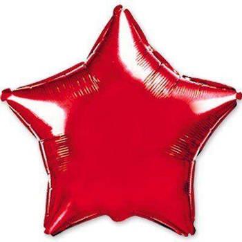 Фольгована Гелева Кулька Однотона Зірка Металік Червона Flexmetal 18 (46 см)