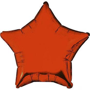 Фольгована Гелева Кулька Однотона Зірка Металік Оранжква Flexmetal 18 (46 см)